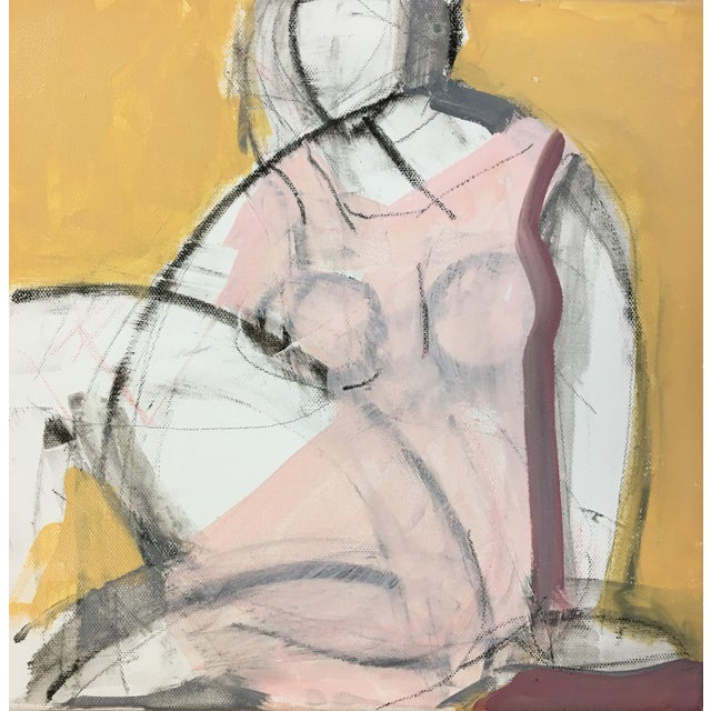 Figurative Seated Woman Yellow Painting by Heidi Lanino For Sale - Image 3 of 4