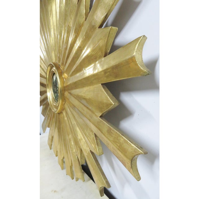 Mid 20th Century Hollywood Regency Gold Gilt Sunburst Carved Mirror For Sale - Image 5 of 6