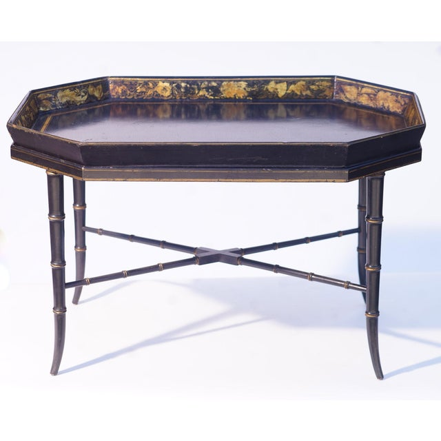 19th C. English Paper Mache Tray Table For Sale - Image 4 of 4