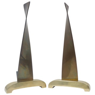 1950s Donald Deskey Moderne Sculptural Satin Brass Andirons For Sale