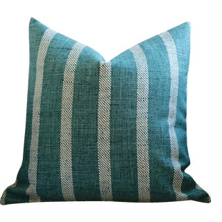Teal Striped Woven Euro Sham 24x24 For Sale