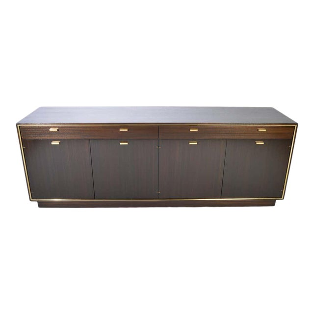 Harvey Probber Credenza in Dark Mahogany Having Brass Embellishments Throughout For Sale