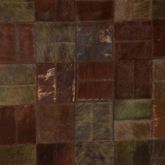 Brutalist Patchwork Cowhide Leather Rug- 8′3″ × 13′2″ For Sale - Image 4 of 9