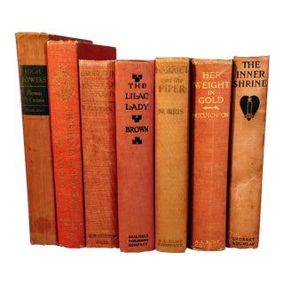 Vintage Mid Century Peach Salmon Rust Colored Book Stack- 7 Pieces For Sale