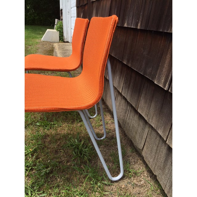 Orange Wicker & Metal Dining Chairs - Set of 8 - Image 4 of 7