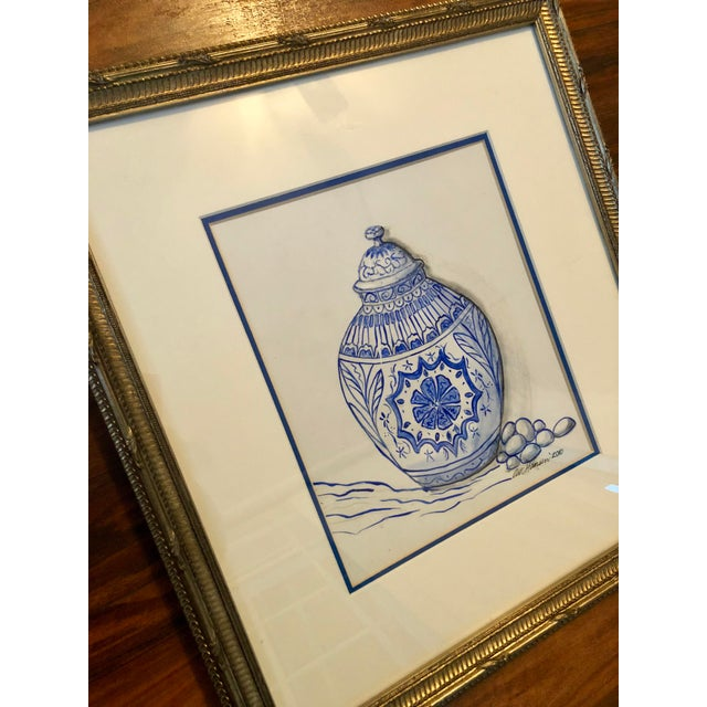 English Traditional Art Hansen Blue and White Ginger Jar Painting For Sale - Image 3 of 6