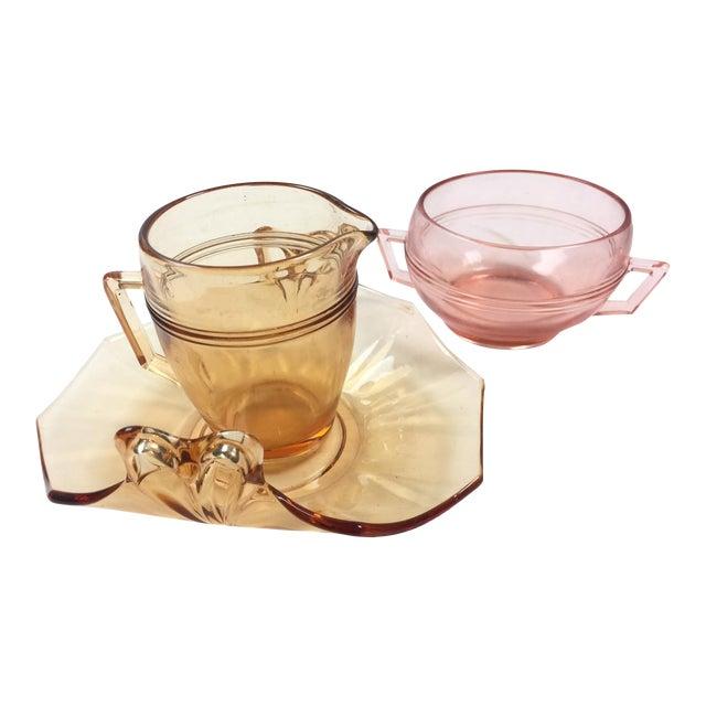 Vintage Depression Glass Coffee Set For Sale