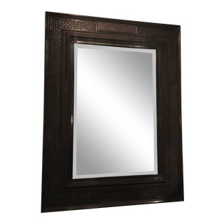 Hand Made Black Rotton Stone Mirror For Sale