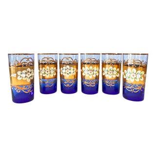 Vintage Cobalt & 23k Gold Gradient Glasses - Set of 6 For Sale