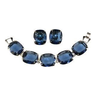 Kramer Bracelet Earrings Set Sapphire Blue Rhinestones For Sale