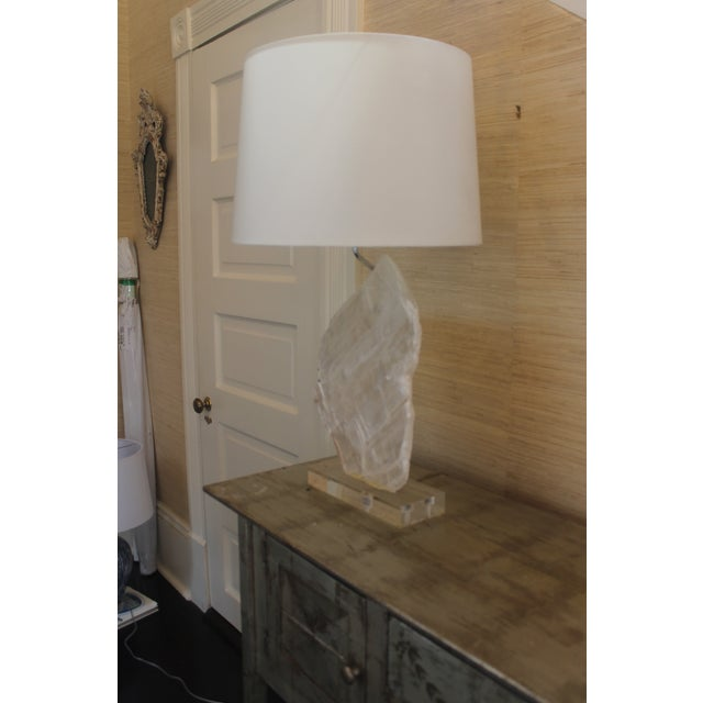 Selenite Stone Lamp With Shade For Sale - Image 9 of 11