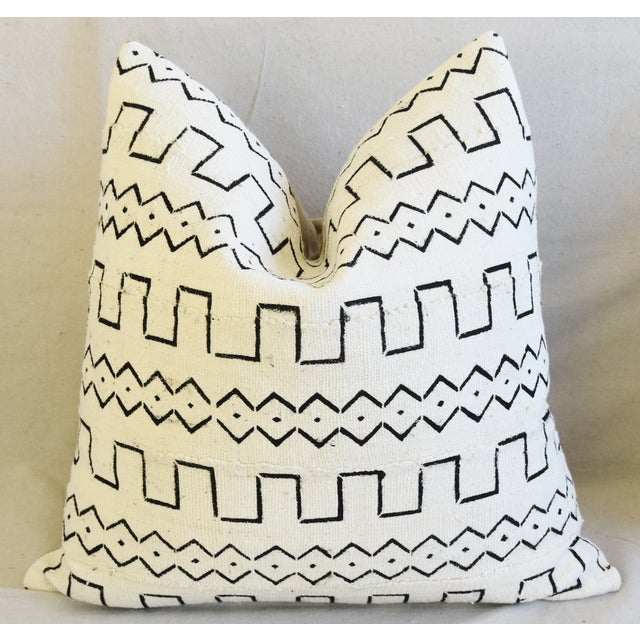 "Organic Neutral & Black Mali Tribal Mud Cloth Feather/Down Pillows 22"" Square - Pair For Sale In Los Angeles - Image 6 of 13"