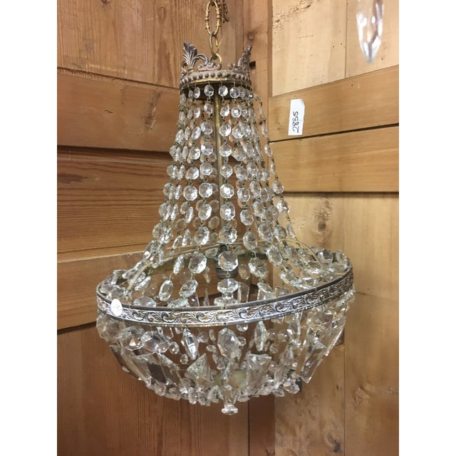 Early 20th Century Early 20th Century Italian Crystal Single Light Chandelier For Sale - Image 5 of 11