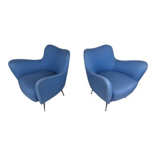 Pair of Exquisite Mid-Century Italian Sculpted Lounge Chairs For Sale