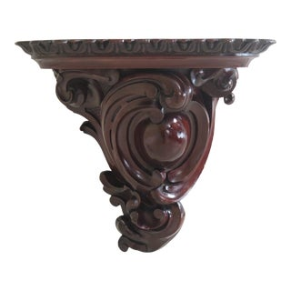 Antique English Carved Walnut Wall Shelf For Sale