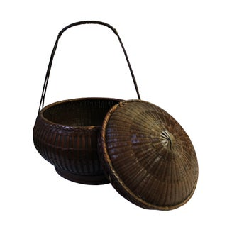 Oriental Handmade Brown Rattan Basket With Long Handle Preview