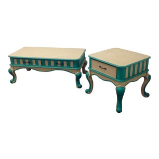 Mid-Century Turquoise & White Tables - A Pair For Sale
