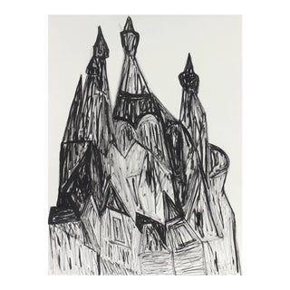 """Georgette London Owens """"Russian Churches in St. Petersburg"""" Charcoal and Ink Cityscape, 20th Century For Sale"""