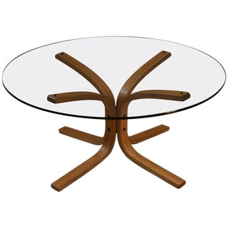 Vintage Round Glass and Teak Coffee Table For Sale