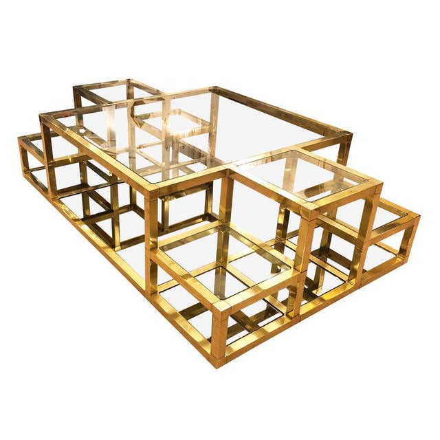 1960s 1960s Italian Multi-Level Brass Coffee Table For Sale - Image 5 of 10