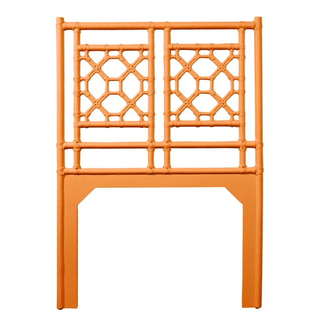 Asian Lattice Back Headboard Twin - Orange For Sale - Image 3 of 3