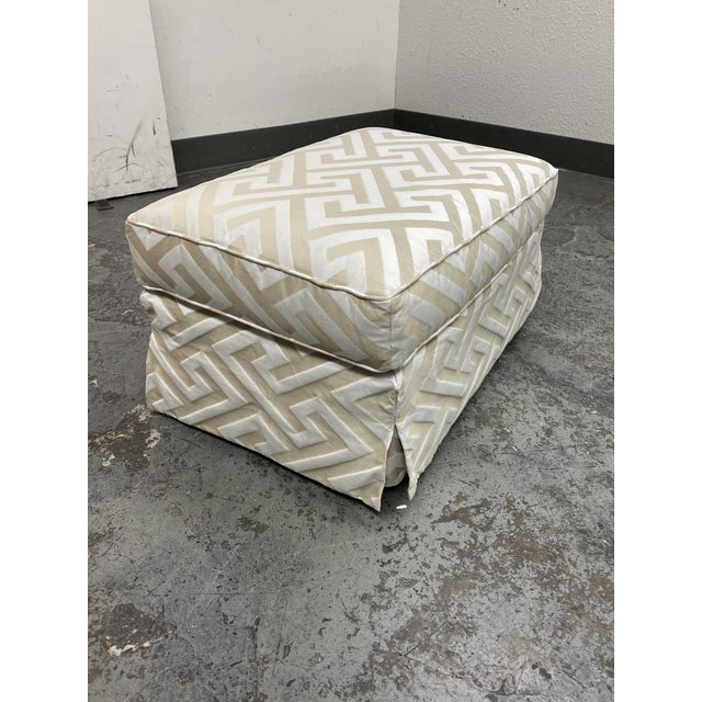 Contemporary Lee Industries Custom Embossed Silk Ottoman For Sale - Image 3 of 8