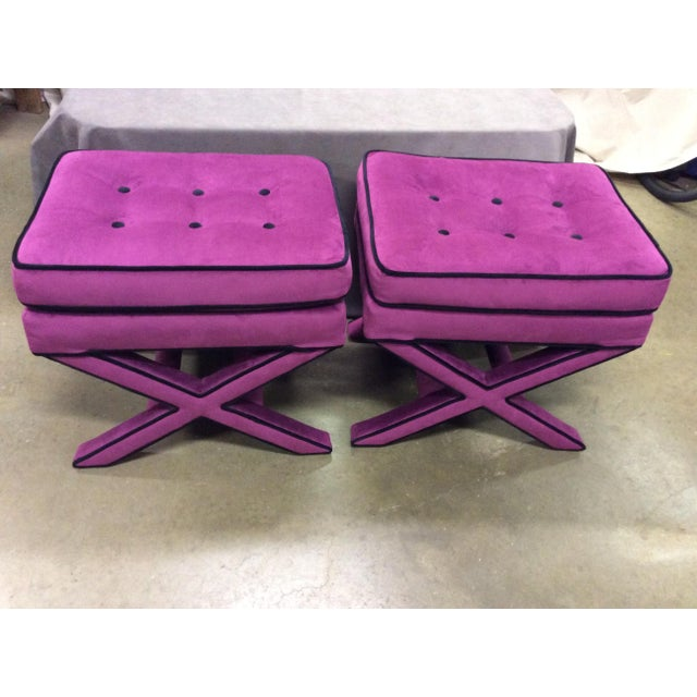 Astonishing Purple Suede Cross Base Tufted Ottomans A Pair Ncnpc Chair Design For Home Ncnpcorg
