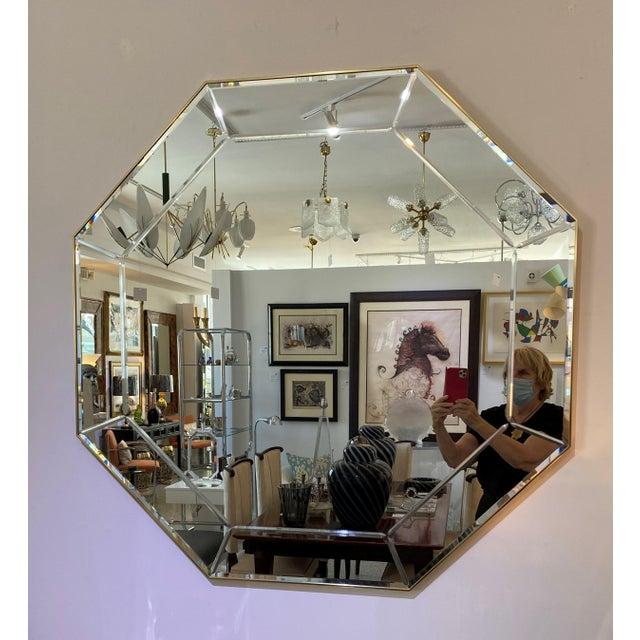 Elegant Vintage La Barge Octagonal Mirror with polished brass narrow surround