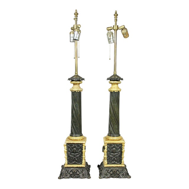 Pair Of Napoleon III Bronze And Ormolu Table Lamps For Sale