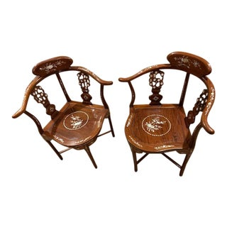 Antique Chinese Rosewood Horseshoe Back Armchairs With Inlaid Mother of Pearl - a Pair For Sale