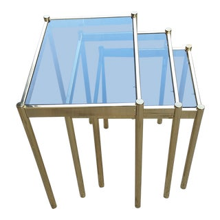 Hollywood Regency Brass & Smoke Glass Nesting Tables - Set of 3