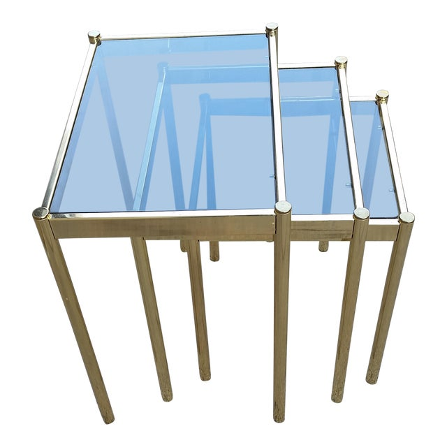 Hollywood Regency Brass & Smoke Glass Nesting Tables - Set of 3 - Image 1 of 9