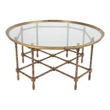 Image of Baker Brass Tortoise Shell Coffee Table For Sale