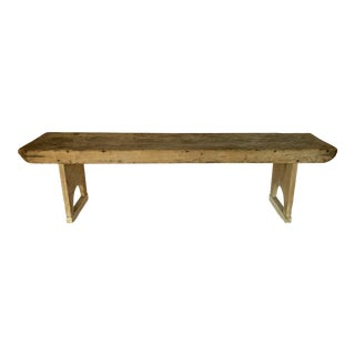 Vintage 19th Century Wooden Farmhouse Bench For Sale
