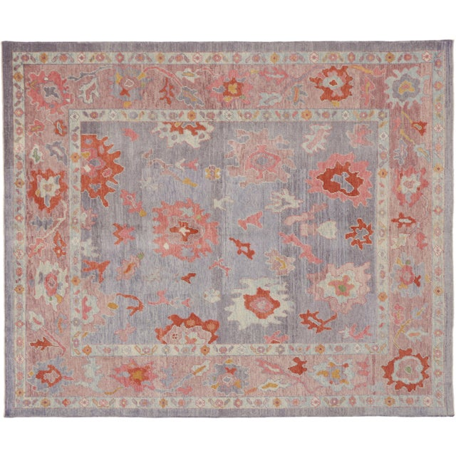 Contemporary Turkish Oushak Rug With Modern Colors - 8′ × 9′7″ For Sale In Dallas - Image 6 of 9