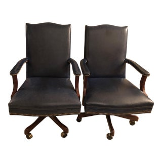 Old Hickory Tannery Navy Blue Leather Desk Chairs - a Pair