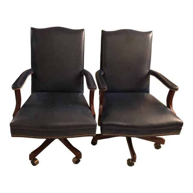 Old Hickory Tannery Navy Blue Leather Desk Chairs - a Pair - Image 1 of 3
