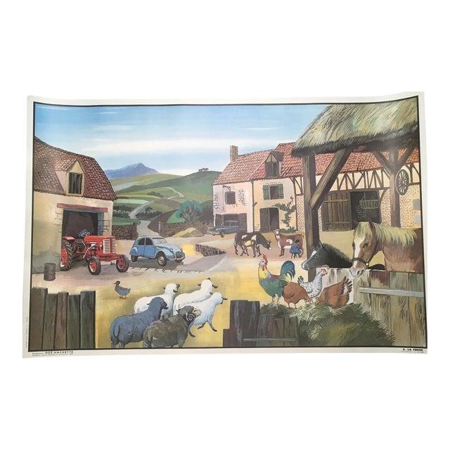 "Vintage French School Two-Sided Poster - ""La Ferme/La Gare"" For Sale"