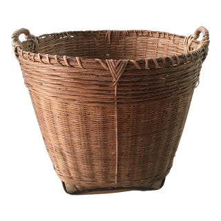 Large Handmade Basket With Handles For Sale