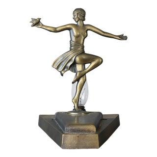 1930s Loevsky & Loevsky Art Deco Nude Lady Holding Bird Lamp For Sale