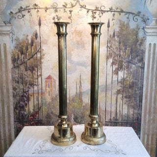 Tall Fluted Brass Altar Candlesticks - A Pair Preview