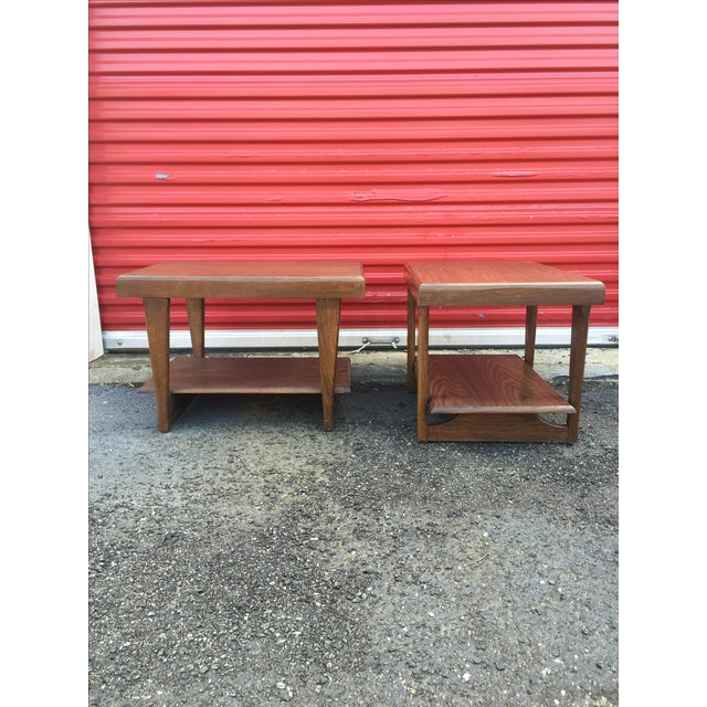 Mid-Century Modern Shelved Side Tables - A Pair - Image 4 of 7