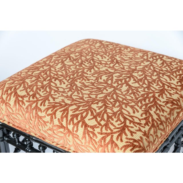 Wood Chinoiserie Black Faux Bamboo Wood Ottomans With Coral Velvet Motif, A-Pair For Sale - Image 7 of 9