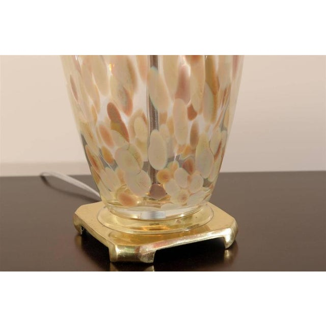 Blown Glass Stunning Pair of Blown Murano Lamps with Brass and Lucite Accents For Sale - Image 7 of 9