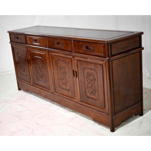 Chinoiserie Vintage Rosewood Effect Chinoiserie Credenza Server Cabinet For Sale - Image 3 of 13