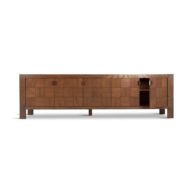 Large Brutalist Credenza in Stained Oak For Sale - Image 4 of 11