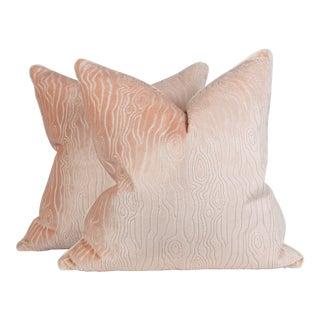 Blush Pink Velvet Faux Bois Pillows - a Pair For Sale