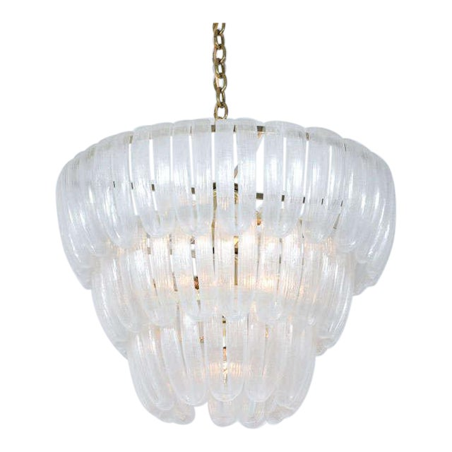 Hand Blown Glass Loop Chandelier after Barovier & Toso For Sale