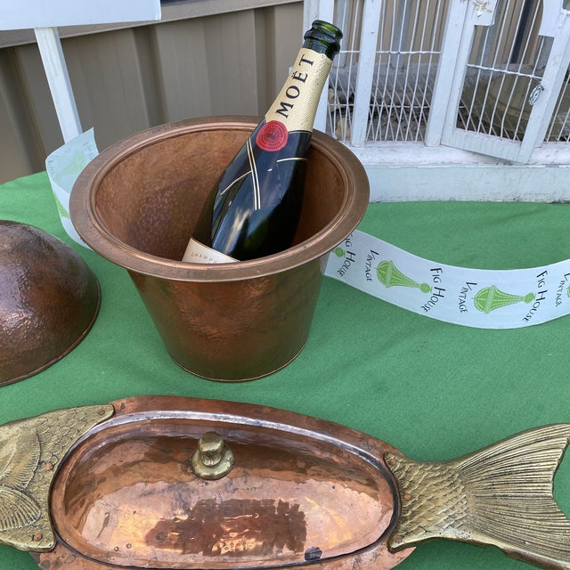 Metal Copper and Brass Champagne Bucket With Oyster Fish Dish - Set of 2 For Sale - Image 7 of 11
