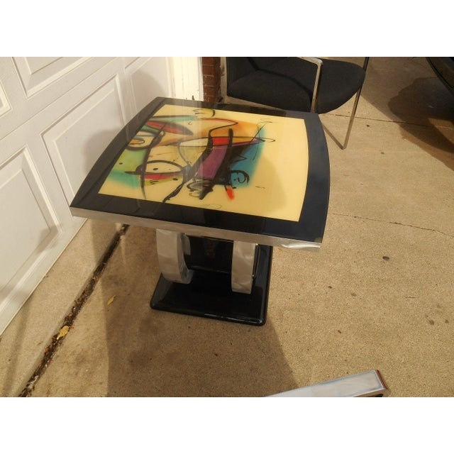 Artist Inspired Aluminum and Acrylic End Table - Image 3 of 5